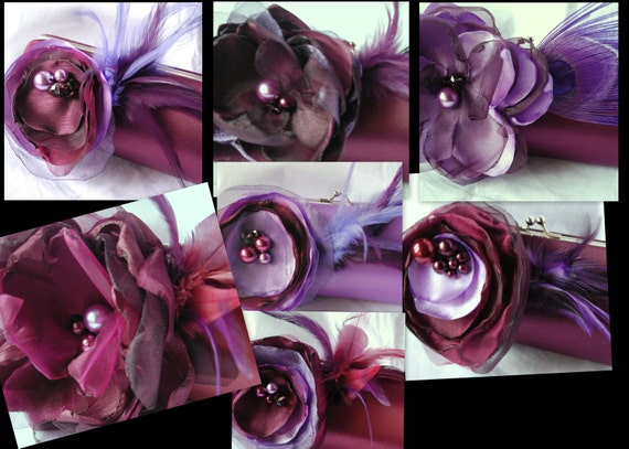 Set of 8 Custom Clutches for Your Bridal party In Shades of Purple/ Each Flower Different from the Next