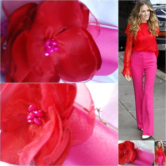 Clutch Handbag / Fuchsia and Red / Bridesmaids Gifts /  Evening Bag / Inspired by Sarah Jessica Parker - Made for carolsmirnoff