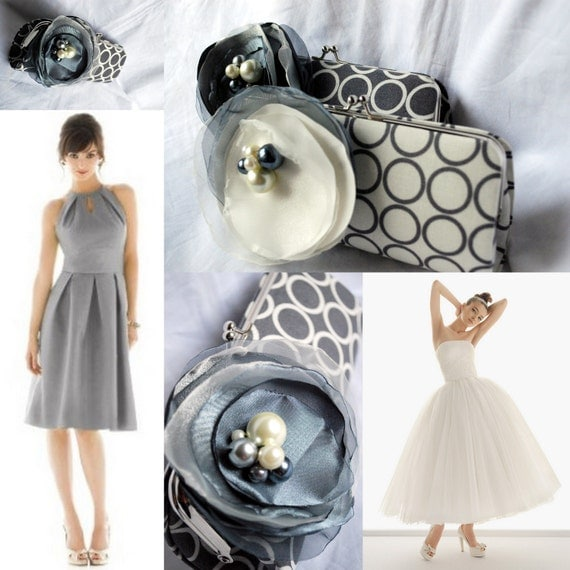 Modern Wedding Clutch - Bridal Clutch - Bridesmaid Clutches - Set of 2 clutches Ivory with Gray Circles and Gray with Ivory Circles