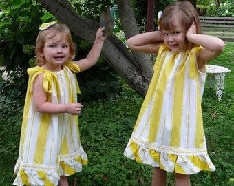 Rays of Yellow Sunshine OOAK Upcycled Pillowcase Dress XSmall and Matching Hairclip