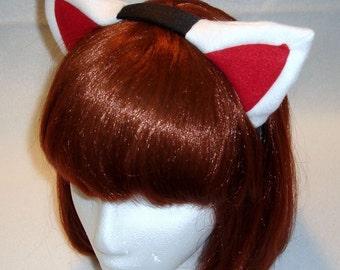 White/Red Kitty/Kitsune Ear Headband