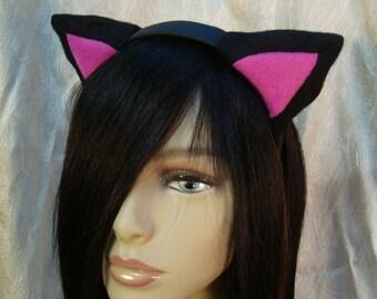 Black/Magenta Kitty Ear Headband