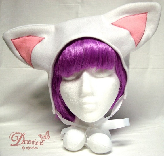 White/Pink Kitty Ear Hat