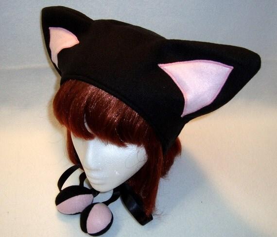 Black/Pink Kitty Ear Hat