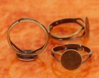 100pcs antique bronze white brass base free nickel adjustable ring blanks base with 10mm round flat pad