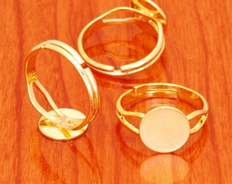 50pcs golden brass base free nickel adjustable rings blank base with 10mm round flat pad