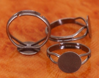 30pcs antique silver brass base free nickel adjustable ring blanks base with 10mm round flat pad