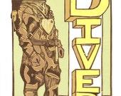 D is for Diver, multi-color reduction woodcut