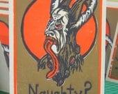 Naughty Krampus (4 color multi block woodcut 4x8 card)