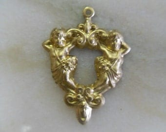 Two Cherub Brass Pendant