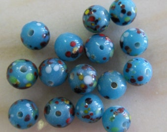 Vintage 10mm Blue Glass Round Beads