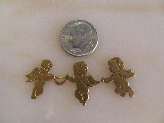 Sweet Three Cherub Brass Stamping