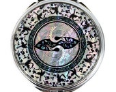 Mother of Pearl White Magnifying Makeup Cosmetic Handbag Purse Compact Mirror with Double Crane Design