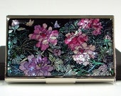 Mother of Pearl Business Credit Name Card Holder ID Money Case Wallet with Peony Design