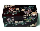 Mother of Pearl Lacquer Wood Jewelry Box with Butterfly and Arabesque Design