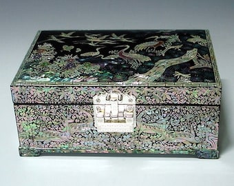 Mother of Pearl Wooden Lacquer Jewelry Gift Trinket Case Box with Crane and Pine Design