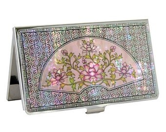 Mother of Pearl Metal Business Credit Name Card Holder ID Money Case with Fan Flower Design