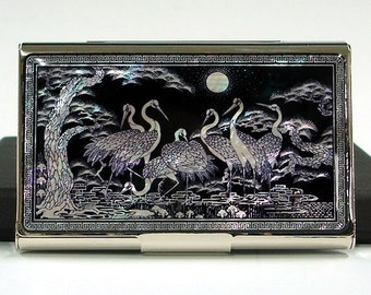 Mother of Pearl Business Credit Name Card Holder ID Money Case with Cranes and Pine Design