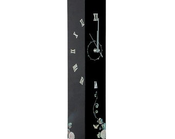 Mother of Pearl Wall Hanging Square Black Wood Art Deco Clock with Sunflower Design