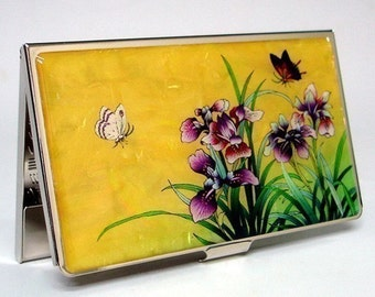 Mother of Pearl Business Credit Name Card Holder ID Money Case with Orchid in Yellow