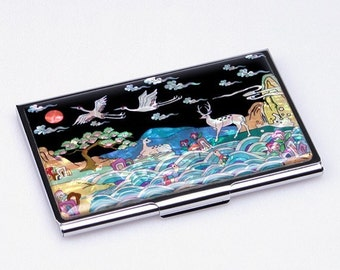Mother of Pearl Business Credit Name Card Holder ID Money Case Wallet with 10 Creatures of Longevity Painting