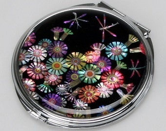 Mother of Pearl Black Makeup Cosmetic Handbag Purse Compact Mirror with Dragonfly Design