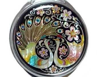 Mother of Pearl Magnifying Makeup Cosmetic Handbag Purse Compact Mirror with Peacock Design