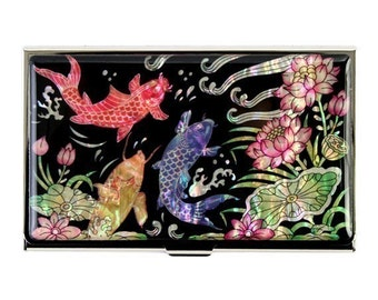 Mother of Pearl Business Credit Name Card Holder ID Money Case with Lotus and Fish Design