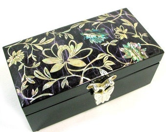 Mother of Pearl Wooden Lacquer Womens Jewelry Gift Treasure Trinket Case Chest Box Container Storage with Peony and Mulberry Paper Design