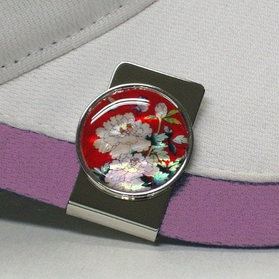 Mother of Pearl Peony Flower in Red Design Coin Metal Magnetic Stainless Steel Pro Hat Clip Golf Ball Marker Cap Money Clip Gift Set