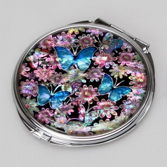 Mother of Pearl Blue Makeup Cosmetic Handbag Purse Compact Mirror with Butterfly Design