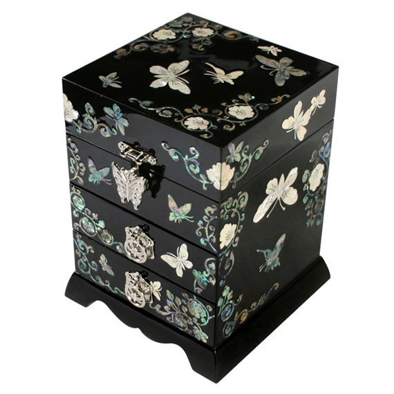 Mother of Pearl Wood Lacquer Jewelry Keepsake Gift Trinket Case Box with Butterfly and Mulberry Paper