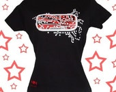 XL ... EXTRA LARGE ...  Womens Black T Shirt ... Circuit Board
