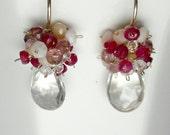 Gemstone Earring, Gemstone Cluster Earring, Tourmaline, Opal, Quartz, Rock Crystal, Ruby Gold, SALE