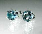 Blue Topaz Earrings London Blue Stud Post Wedding Something Blue