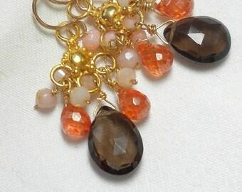 Peruvian Opal Earring Opal Cluster Earring Opal Chandelier Earring  Gold SALE