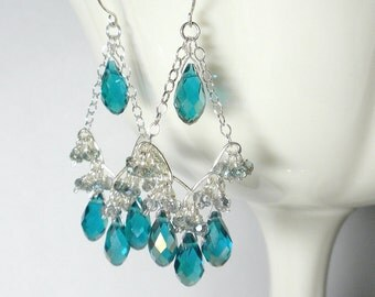 Teal Earring, Silver Chandelier Earrings, Teal Chandelier Earrings, Teal Crystal Earring, Sale