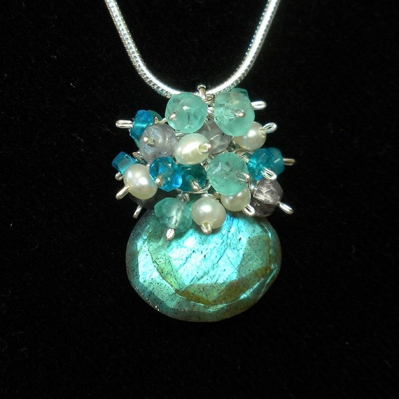 Labradorite Necklace Gemstone Cluster Necklace Apatite Pearl Spinel Labradorite