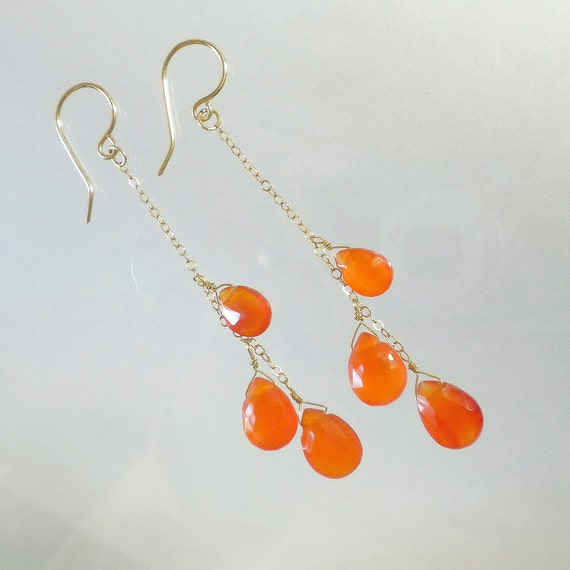 Orange earrings, Cluster earrings, Carnelian gemstone earrings, Long earrings
