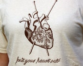 SALE Knit Your Heart Out XLARGE Original Design Knitting Tee Shirt