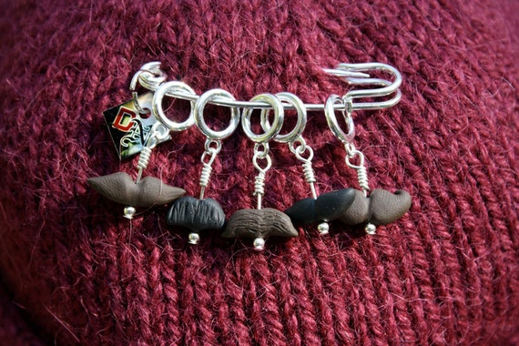 Moustache Stitch Markers (Set of 5 Assorted Facial Hair)