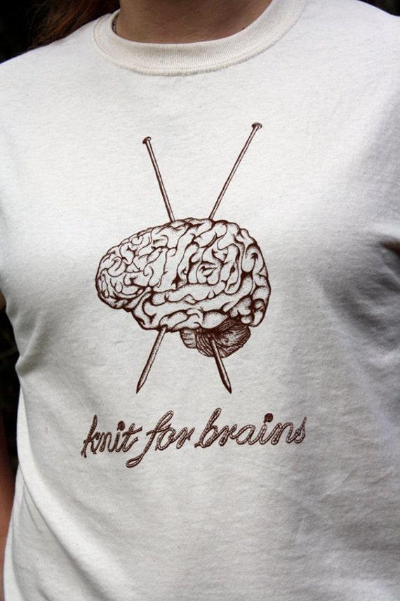 SALE Knit for Brains LARGE Original Design Knitting Tee Shirt