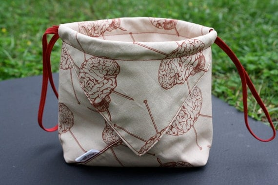 Knit for Brains Drawstring Origami Knitting Project Bag Red Toile