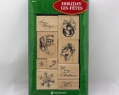 Christmas Variety 9 Rubber Stamp Wood Mounted