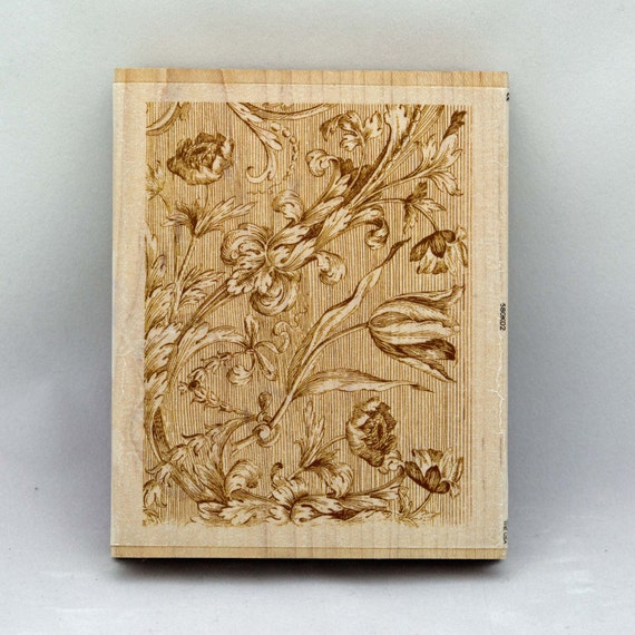 Flowers Rubber Stamp Wood Mounted