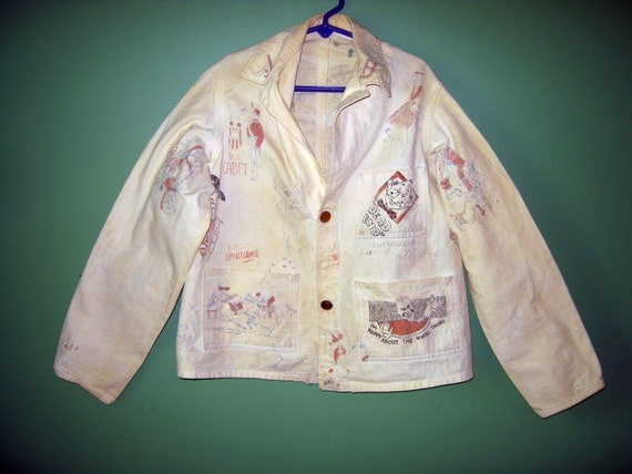Vintage Old and Unusual Childs Canvas Jacket with Cartoons and Stein Buttons. SALE