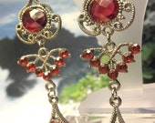 Ruby Red Dangle Costume Earrings