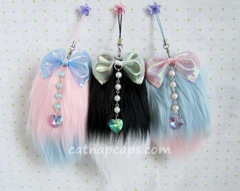 Fairy Kei Customize Your Own Fluffy Mini Faux Fur Fox Tail Charm with Sparkling Heart Gem Any Pink Blue Lavender Black White Hot Pink Combo