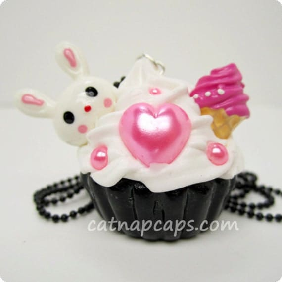 Bunny Loves Ice Cream Sweets Jewelry Cupcake Necklace