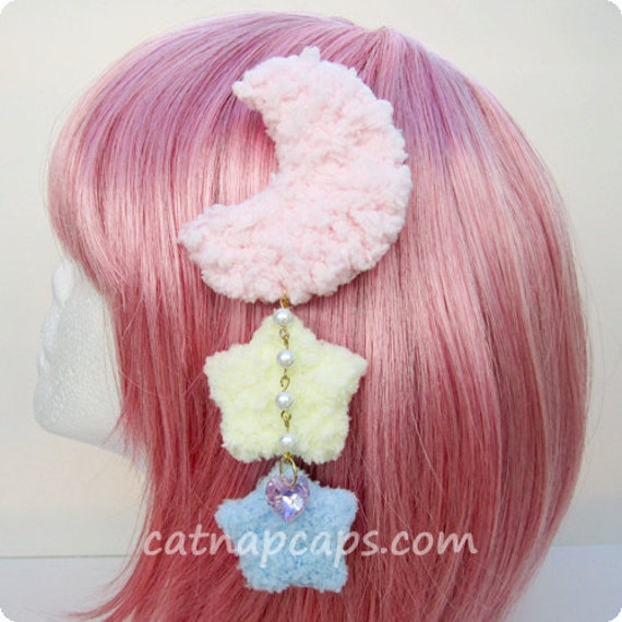 Fairy Kei Lolita Fluffly Pastel Rainbow Dream Time Moon Star Hair Clip and Brooch with Sparkling Heart Gem Pink Moon Yellow and Blue Stars